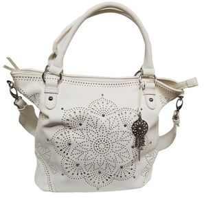 Jessica Simpson White Laser Cut Tote Purse